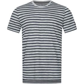 super.natural Comfort Print T-shirt Heren, ash melange/navy blazer fine stripe print